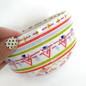 Anthropologie White Cereal Bowl Boho Geometric